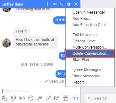 How to delete your chat messages on facebook